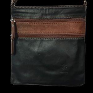 Leather Crossbody Zip Purse Bag Brown Black